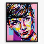 Vibrant and expressive portrait painting of Audrey Hepburn