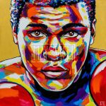 A large scale expressive portrait of the greatest Muhammad Ali