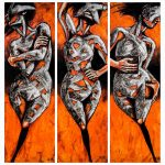 Triptych depicts 3 dancing figures Past, Present and The Future.